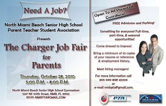 NORTH MIAMI BEACH SENIOR HIGH SCHOOL PARENT, TEACHER, AND STUDENT ASSOCIATION (PTSA) TO HOST 1ST ANNUAL NMB CHARGER JOB FAIR FOR PARENTS AND THE COMMUNITY