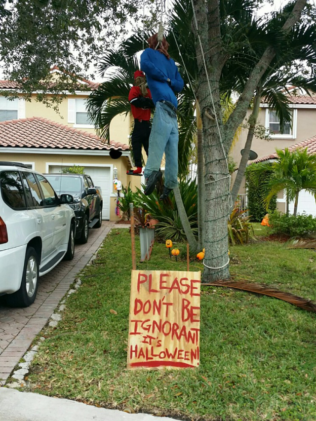 Halloween decoration in Miami showing mock lynching of two black men