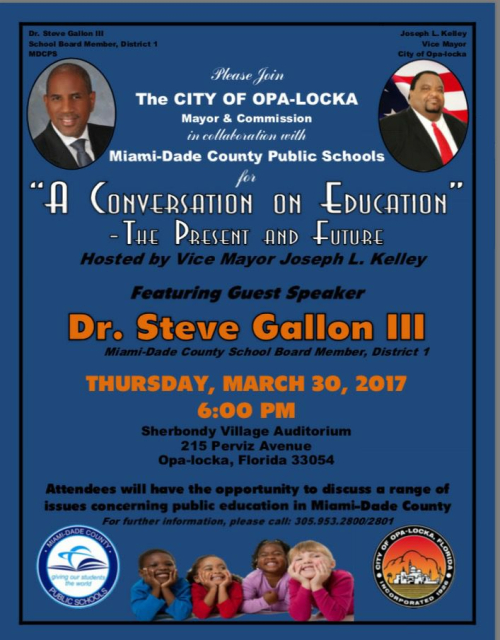 Opa-locka town hall on education
