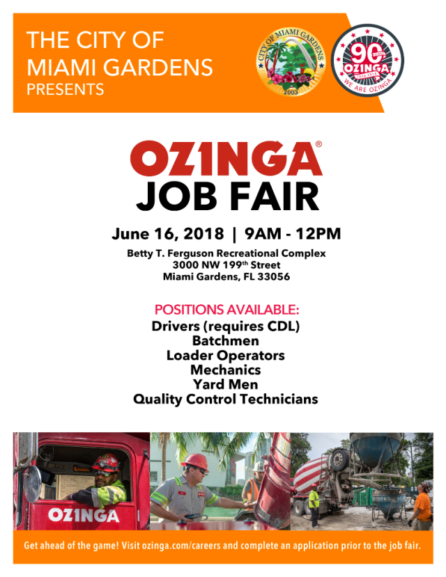 Miami Gardens Ozinga Job Fair