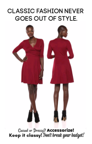 Lark & Ro Red Faux Wrap Dress