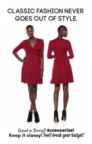 Lark & Ro Red Faux Wrap Dress